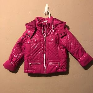 Zara babygirl shiny hot pink puffer jacket